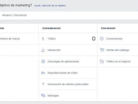 Objetivos para las campañas de Facebook e Instagram