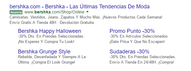 Ejemplo de extensiones de anuncio de sitios