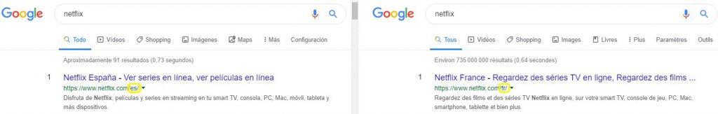 Dos resultados diferentes para Google en España y Francia.